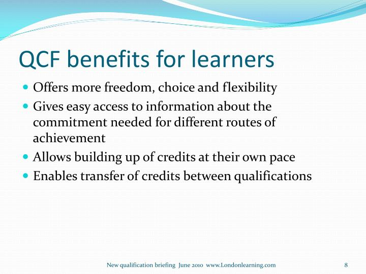 QCF benefits for learners