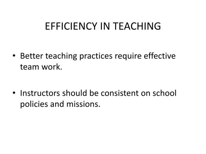 EFFICIENCY IN TEACHING