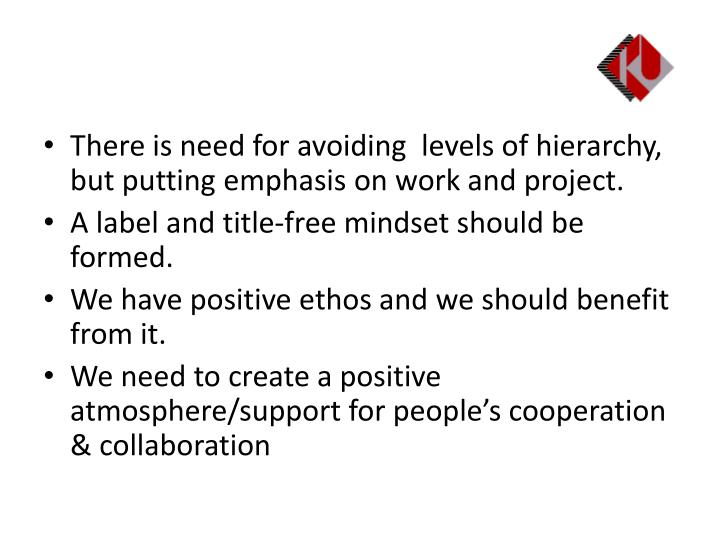 There is need for avoiding  levels of hierarchy, but putting emphasis on work and project.