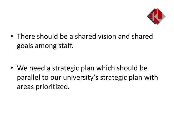 There should be a shared vision and shared goals among staff.