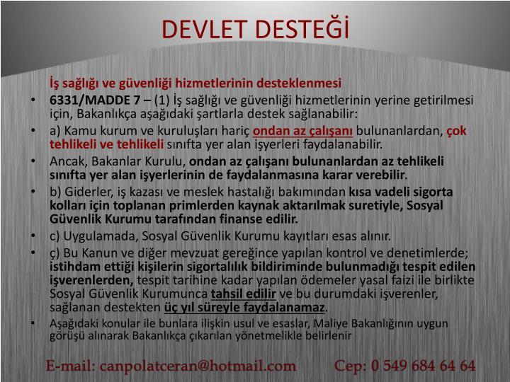 DEVLET DESTEĞİ