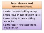 four citizen centred recommendations