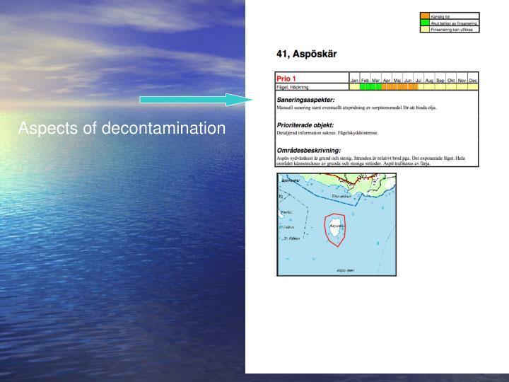 Aspects of decontamination