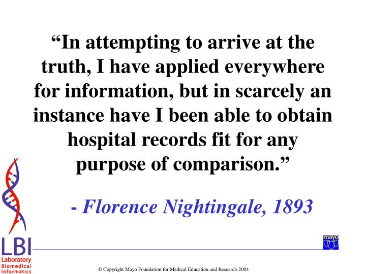 """""""In attempting to arrive at the truth, I have applied everywhere for information, but in scarcely an instance have I been able to obtain hospital records fit for any purpose of comparison."""""""