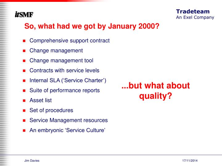 So, what had we got by January 2000?