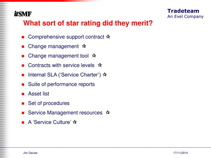 What sort of star rating did they merit?