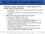 risky arbitrage uncovered interest parity1