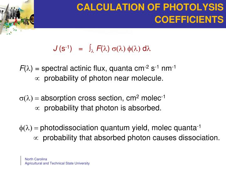 CALCULATION OF PHOTOLYSIS COEFFICIENTS