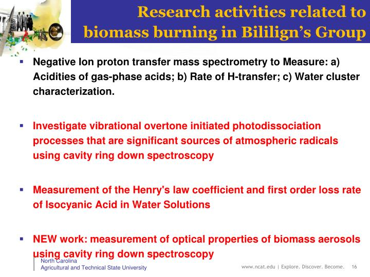 Research activities related to biomass burning in Bililign's Group