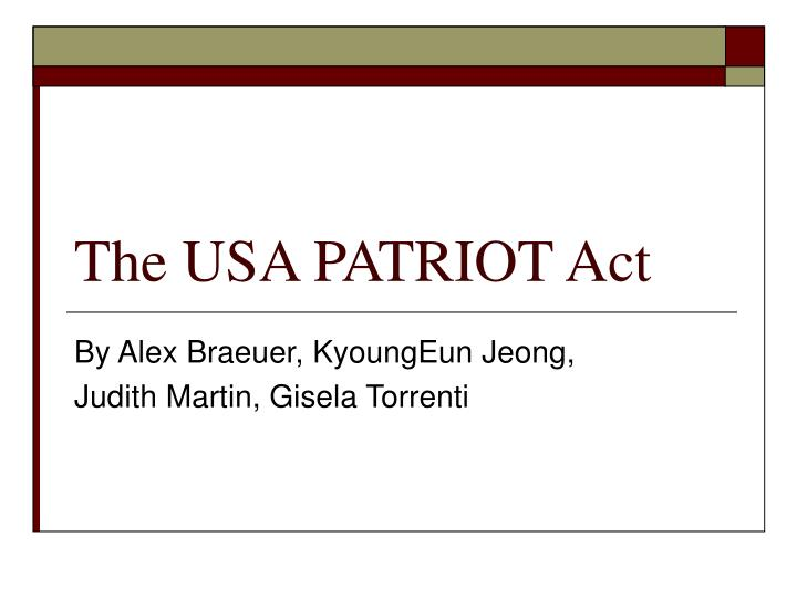 a history of the patriot act The patriot act was drafted in response and introduced to congress by republican rep jim sensenbrenner assistant attorney general viet dinh was the primary author of the act, following his review of department of justice practices and procedures in the wake of the september 11 attacks [source: wiredcom.