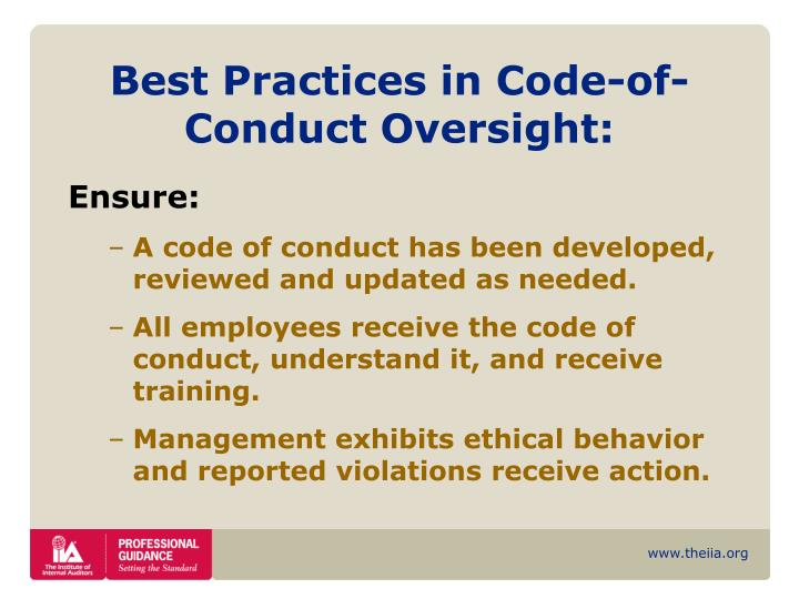 Best Practices in Code-of-Conduct Oversight: