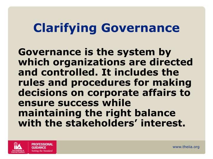Clarifying governance