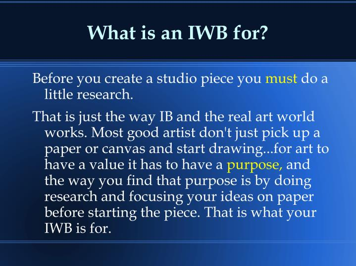 What is an IWB for?