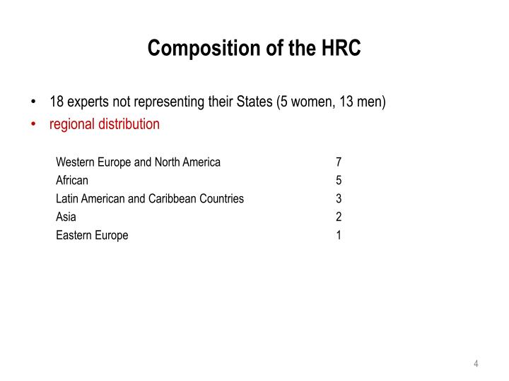 Composition of the HRC