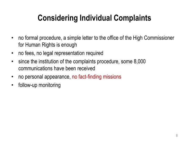 Considering Individual Complaints