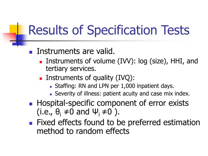 Results of Specification Tests