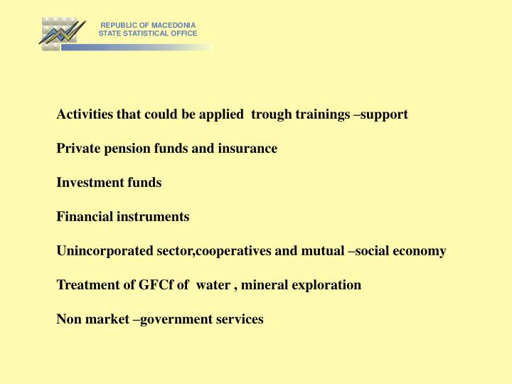 Activities that could be applied  trough trainings –support