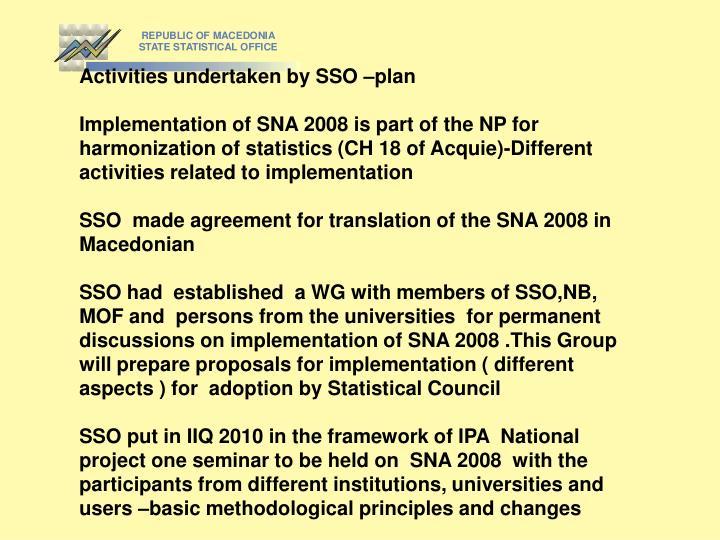 Activities undertaken by SSO –plan