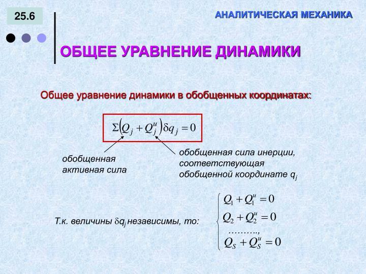 обобщенная сила инерции, соответствующая обобщенной координате q