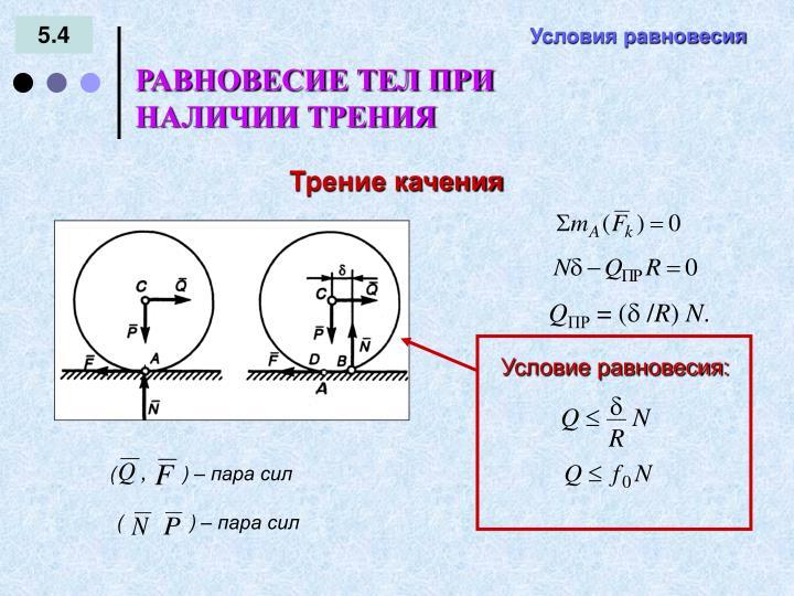 Условие равновесия: