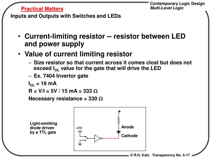 Current-limiting resistor -- resistor between LED and power supply