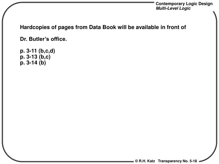 Hardcopies of pages from Data Book will be available in front of