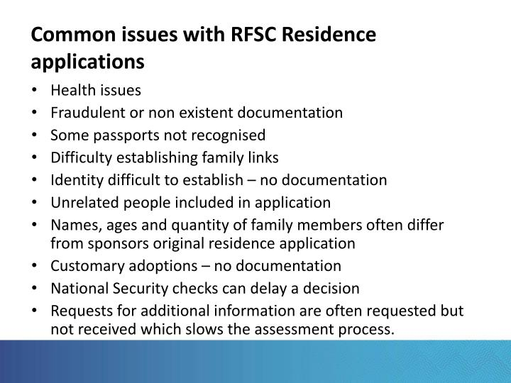 Common issues with RFSC Residence applications