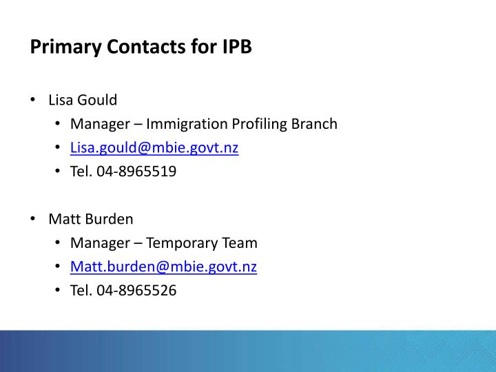 Primary Contacts for IPB