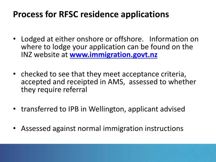 Process for RFSC residence applications
