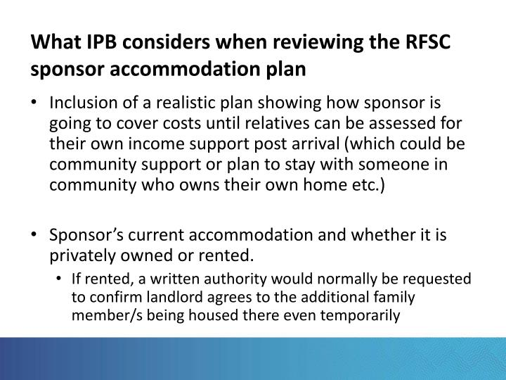 What IPB considers when reviewing the RFSC sponsor accommodation plan