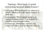 topology what kinds of spatial relationships between spatial features