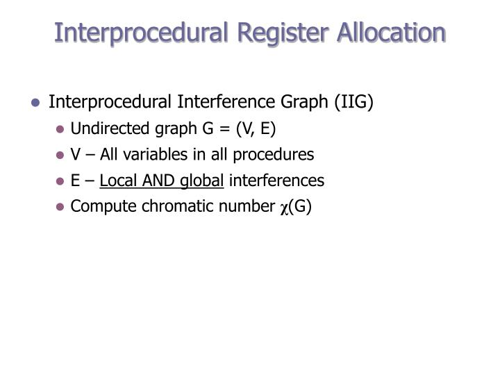 Interprocedural Register Allocation