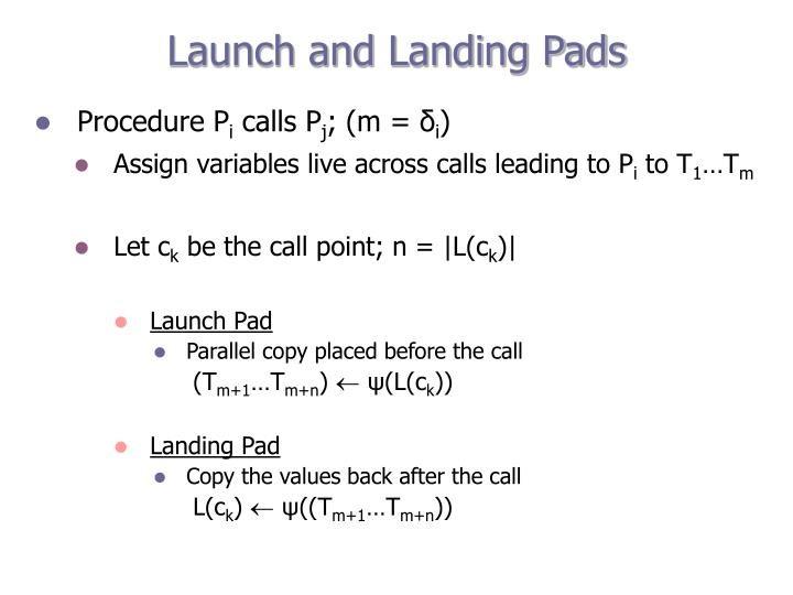 Launch and Landing Pads