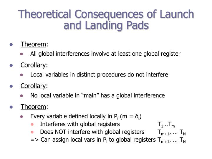 Theoretical Consequences of Launch and Landing Pads