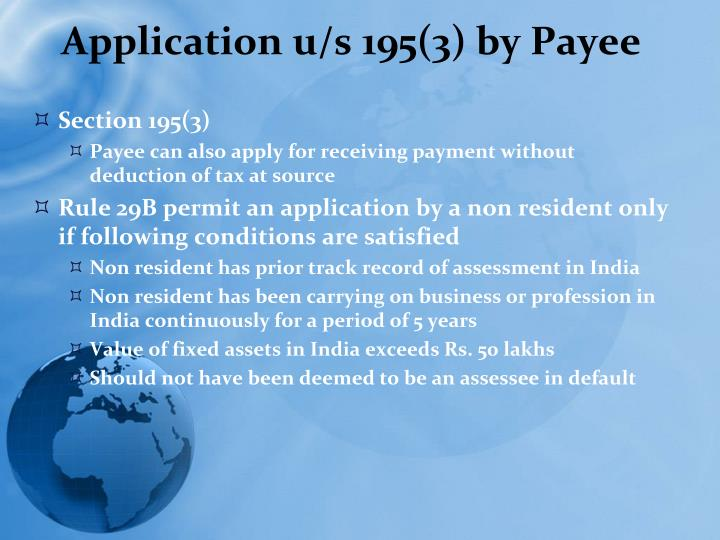 Application u/s 195(3) by Payee