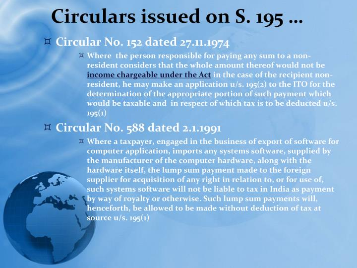 Circulars issued on S. 195 …