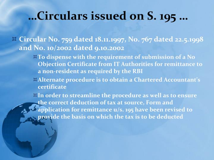 …Circulars issued on S. 195 …