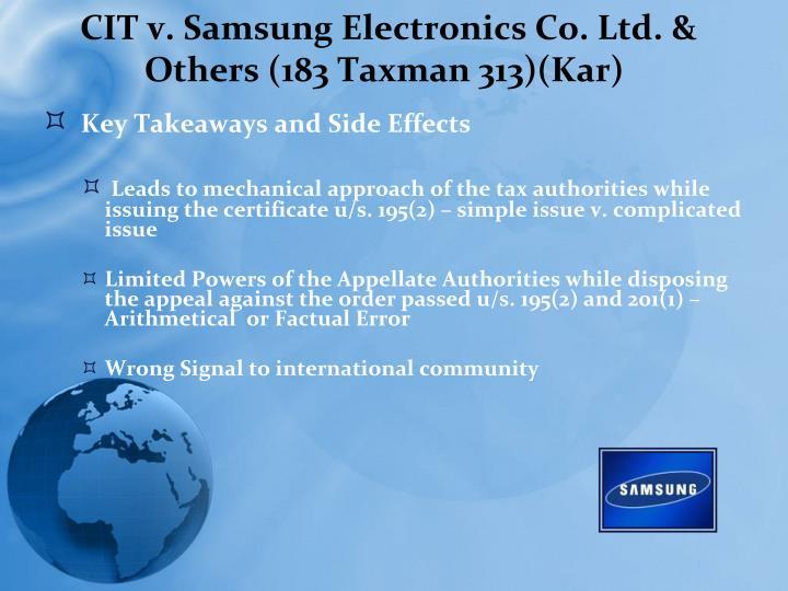 CIT v. Samsung Electronics Co. Ltd. & Others (183 Taxman 313)(Kar)