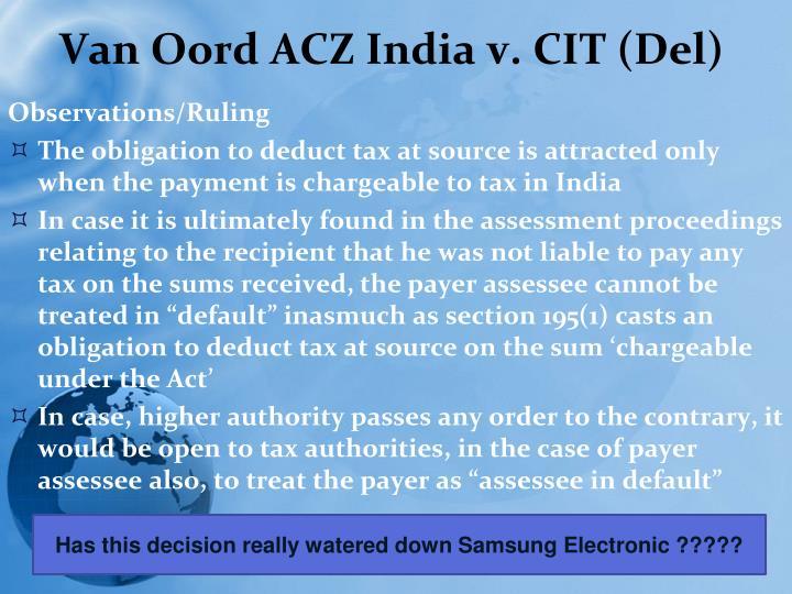 Van Oord ACZ India v. CIT (Del)