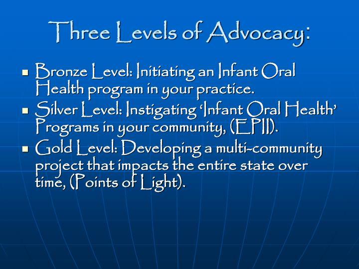 Three Levels of Advocacy