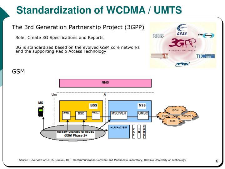 Standardization of WCDMA / UMTS