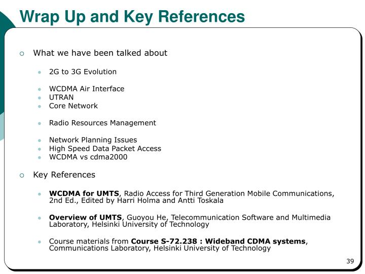 Wrap Up and Key References