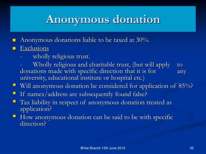 Anonymous donation
