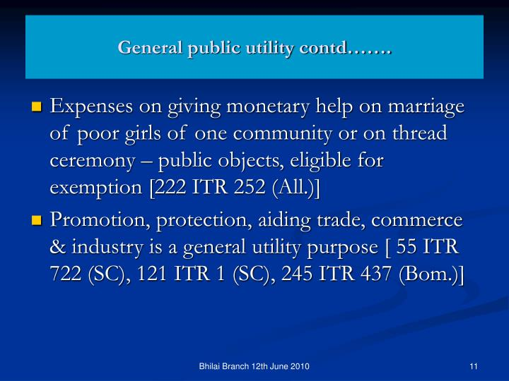General public utility contd…….