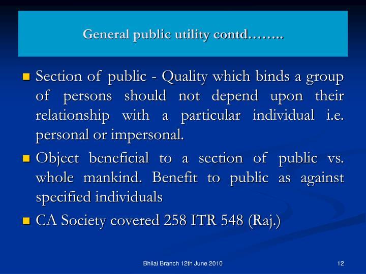 General public utility contd……..