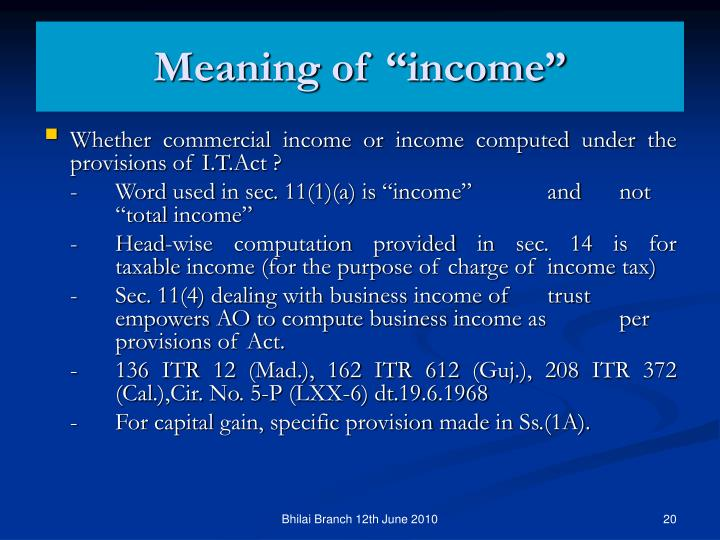 """Meaning of """"income"""""""