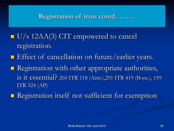 Registration of trust contd………