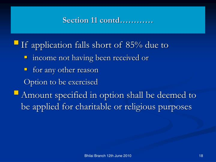 Section 11 contd…………