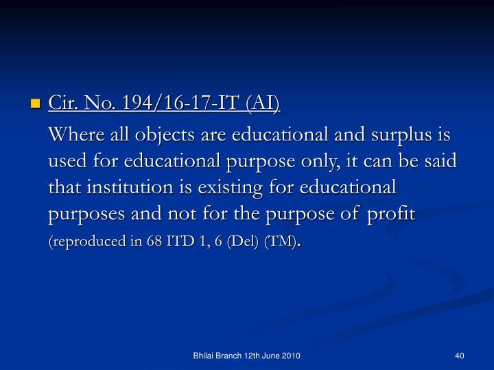 Cir. No. 194/16-17-IT (AI)