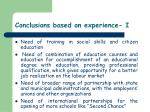conclusions based on experience i